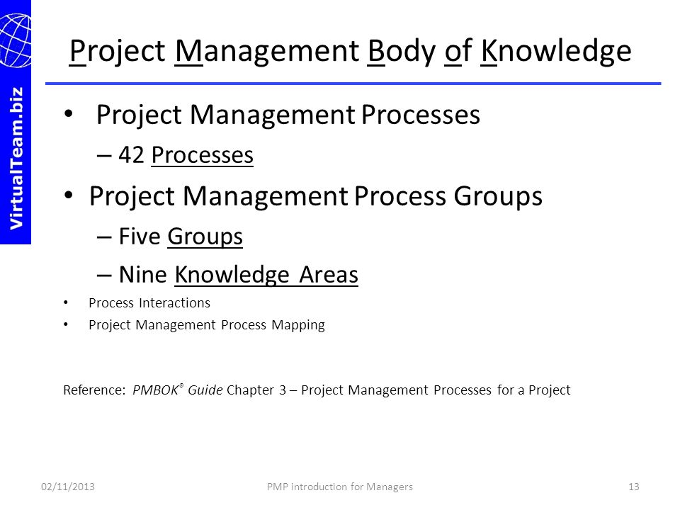 Project Management Processes – 42 Processes Project Management Process Groups – Five Groups – Nine Knowledge Areas Process Interactions Project Manage