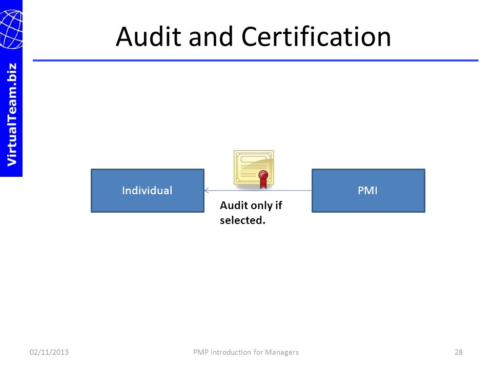 Audit and Certification 02/11/201328PMP introduction for Managers IndividualPMI Audit only if selected.