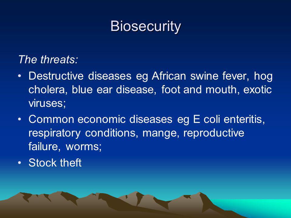 Biosecurity The threats: Destructive diseases eg African swine fever, hog cholera, blue ear disease, foot and mouth, exotic viruses; Common economic d