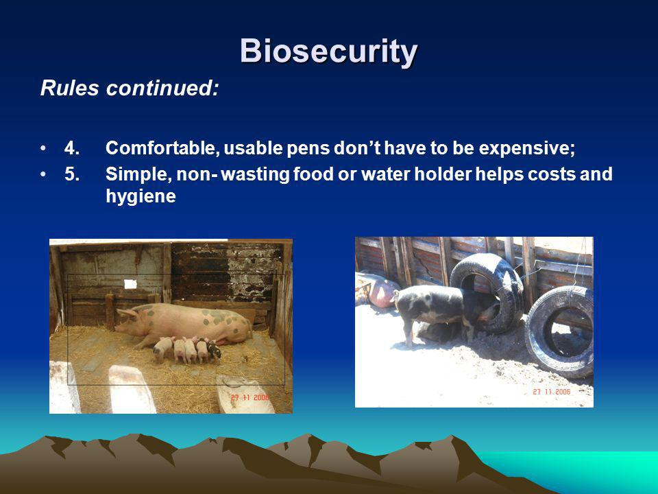 Biosecurity Rules continued: 4.Comfortable, usable pens dont have to be expensive; 5.Simple, non- wasting food or water holder helps costs and hygiene
