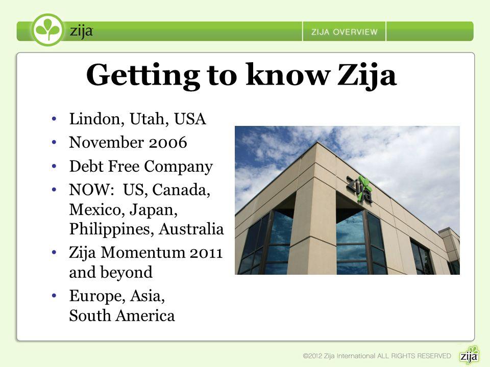 Getting to know Zija Lindon, Utah, USA November 2006 Debt Free Company NOW: US, Canada, Mexico, Japan, Philippines, Australia Zija Momentum 2011 and b