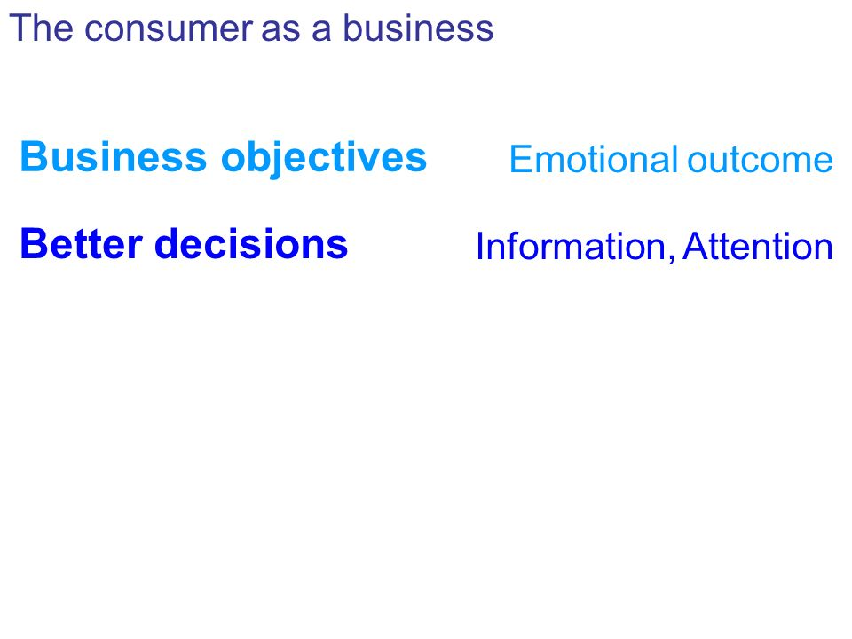 Business objectives Emotional outcome The consumer as a business Better decisions Information, Attention