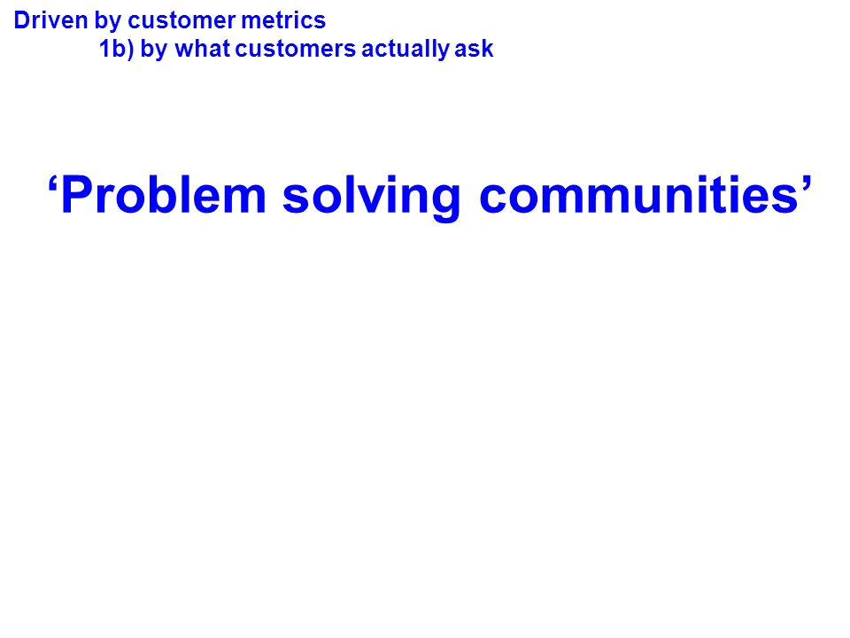 Driven by customer metrics 1b) by what customers actually ask Problem solving communities