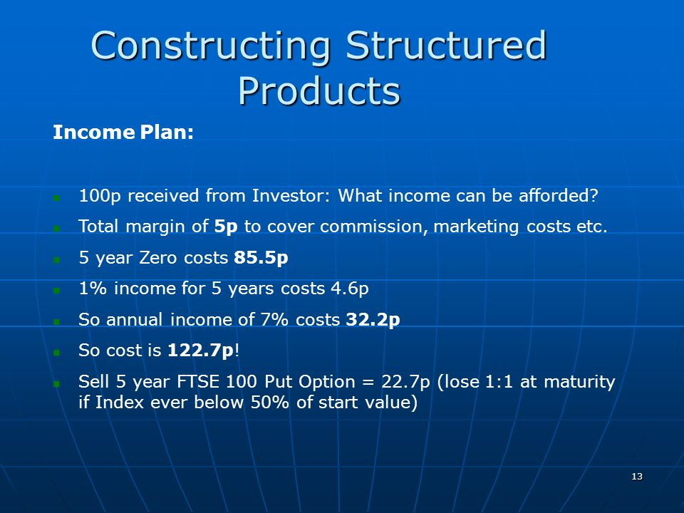 13 Constructing Structured Products Income Plan: 100p received from Investor: What income can be afforded? Total margin of 5p to cover commission, mar