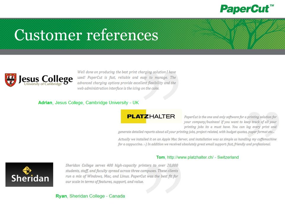 Customer references