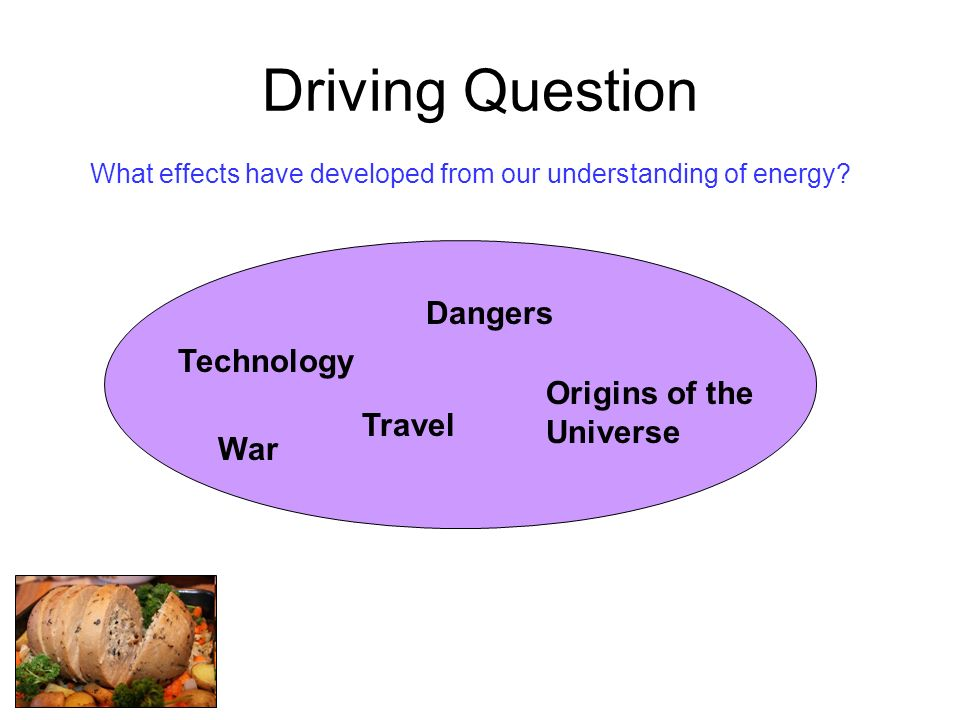 Driving Question What effects have developed from our understanding of energy? Dangers War Technology Origins of the Universe Travel