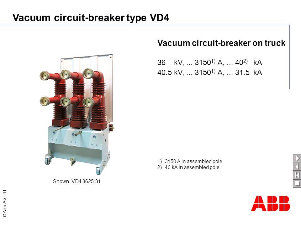 Vacuum circuit-breaker type VD4 © ABB AG - 11 - Vacuum circuit-breaker on truck 36 kV,... 3150 1) A,... 40 2) kA 40.5 kV,... 3150 1) A,... 31.5kA Show