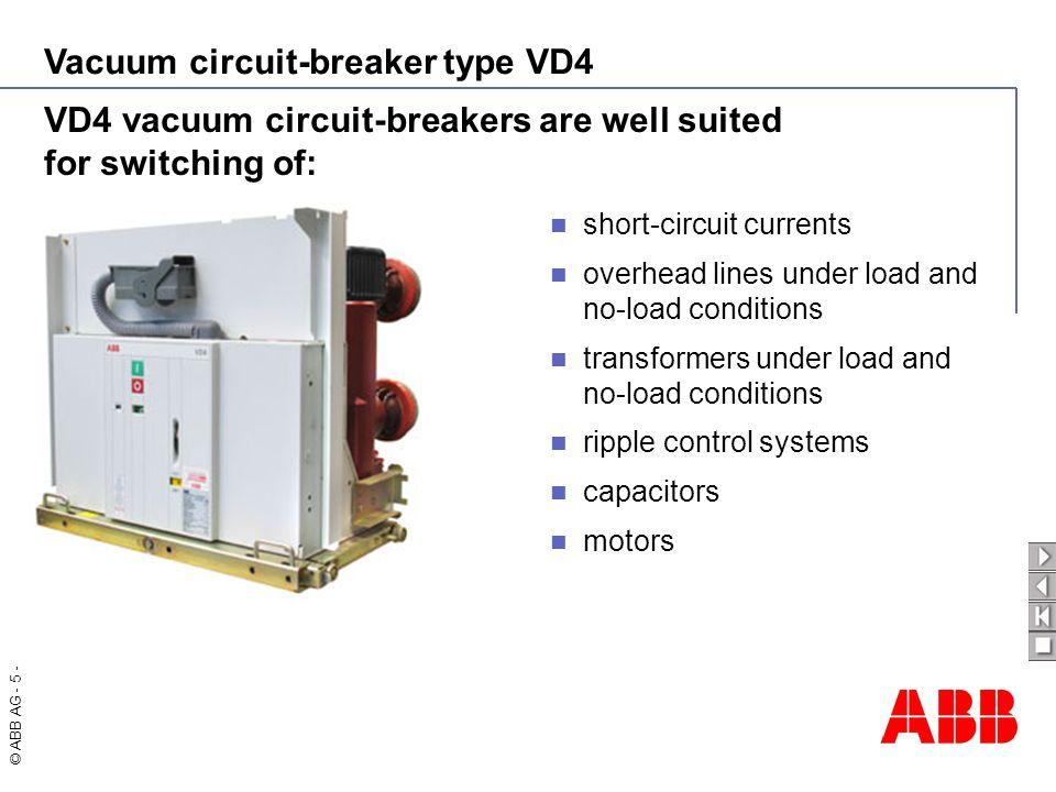 Vacuum circuit-breaker type VD4 © ABB AG - 6 - - 6016 E 23-02-06 - 1 2 3 4 5 6 7 8 9 10 Vacuum interrupter (principle structure ) 1Stem / Terminal 2Twist protection 3Metal bellow 4Interrupter lid 5Shield 6Ceramic insulator 7Shield 8Contacts 9Stem / Terminal 10Interrupter lid