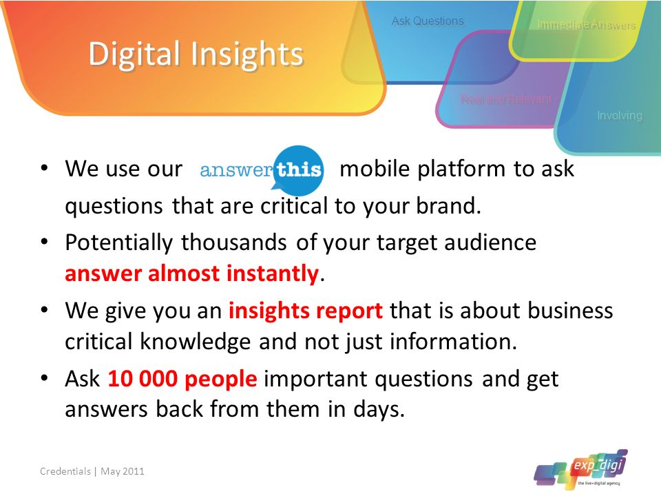 Digital Insights We use our mobile platform to ask questions that are critical to your brand. Potentially thousands of your target audience answer alm
