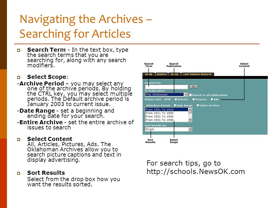Navigating the Archives – Searching for Articles Search Term - In the text box, type the search terms that you are searching for, along with any searc
