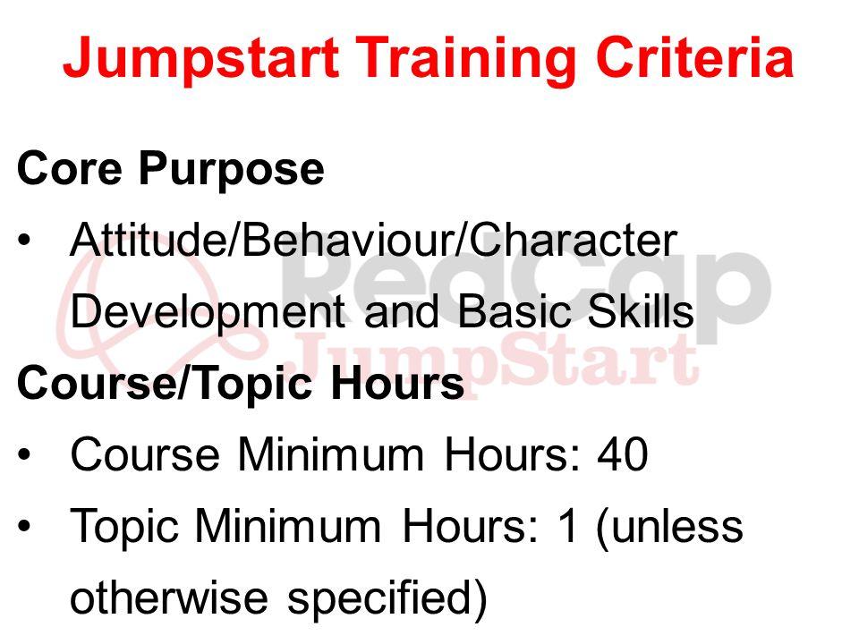 Jumpstart Training Criteria Core Purpose Attitude/Behaviour/Character Development and Basic Skills Course/Topic Hours Course Minimum Hours: 40 Topic M