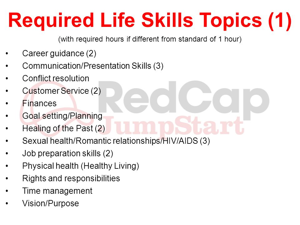 Required Life Skills Topics (2) The following topics may be covered within the above topics or separately and thus dont have 1 hour minimum requirements: Life-long learning Motivation/Self-esteem Personal Development/Character Work ethics Emotional maturity Problem solving/Decision making Substance abuse