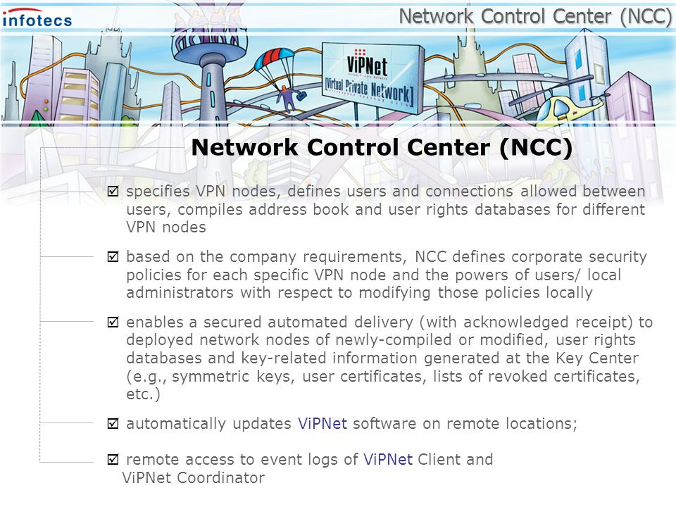 Network Control Center (NCC) specifies VPN nodes, defines users and connections allowed between users, compiles address book and user rights databases