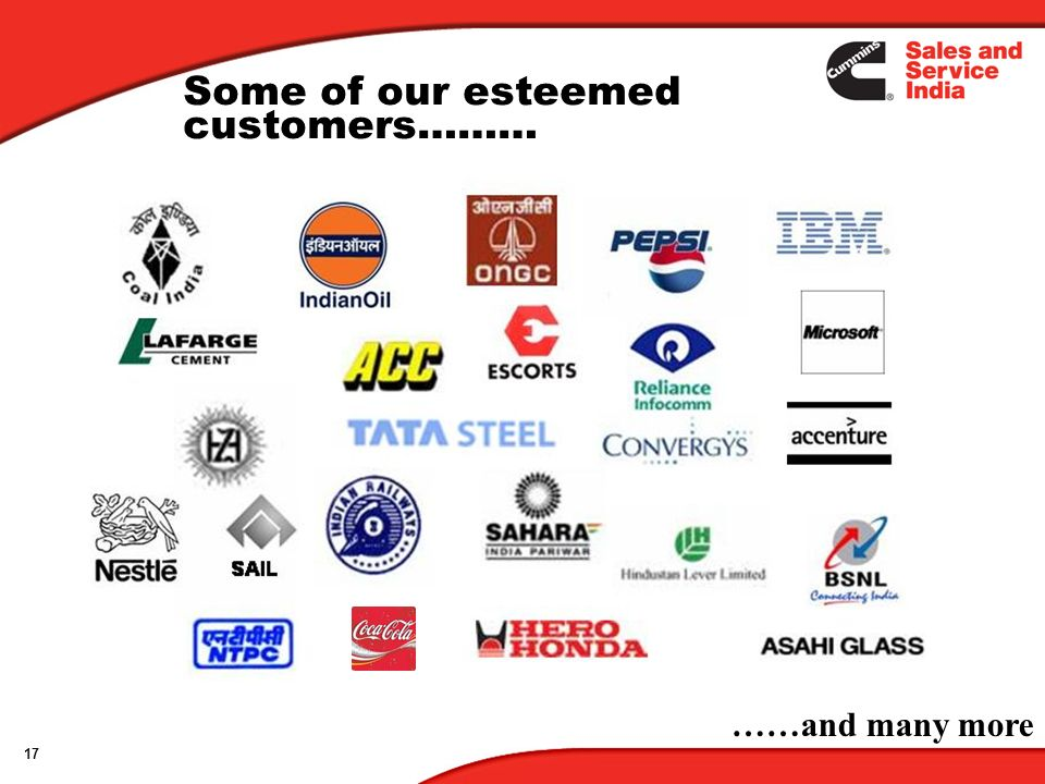 17 Some of our esteemed customers……… ……and many more