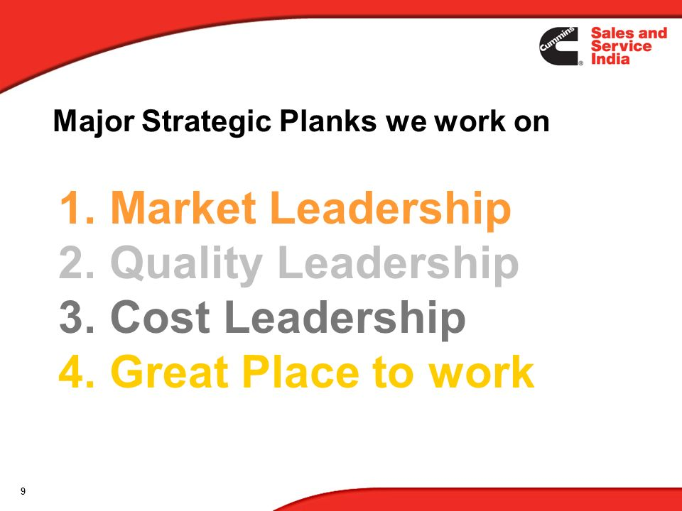 9 1. Market Leadership 2. Quality Leadership 3. Cost Leadership 4. Great Place to work Major Strategic Planks we work on