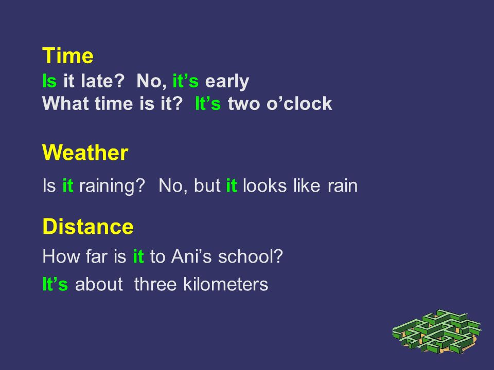 Time Is it late? No, its early What time is it? Its two oclock Weather Is it raining? No, but it looks like rain Distance How far is it to Anis school