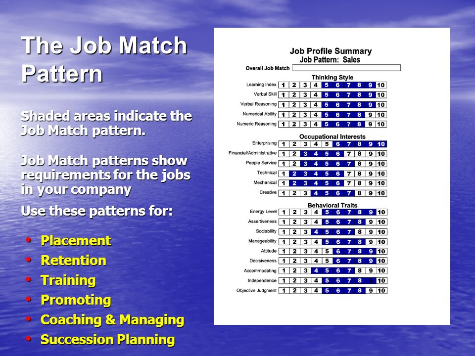 Shaded areas indicate the Job Match pattern. Job Match patterns show requirements for the jobs in your company Use these patterns for: Placement Place