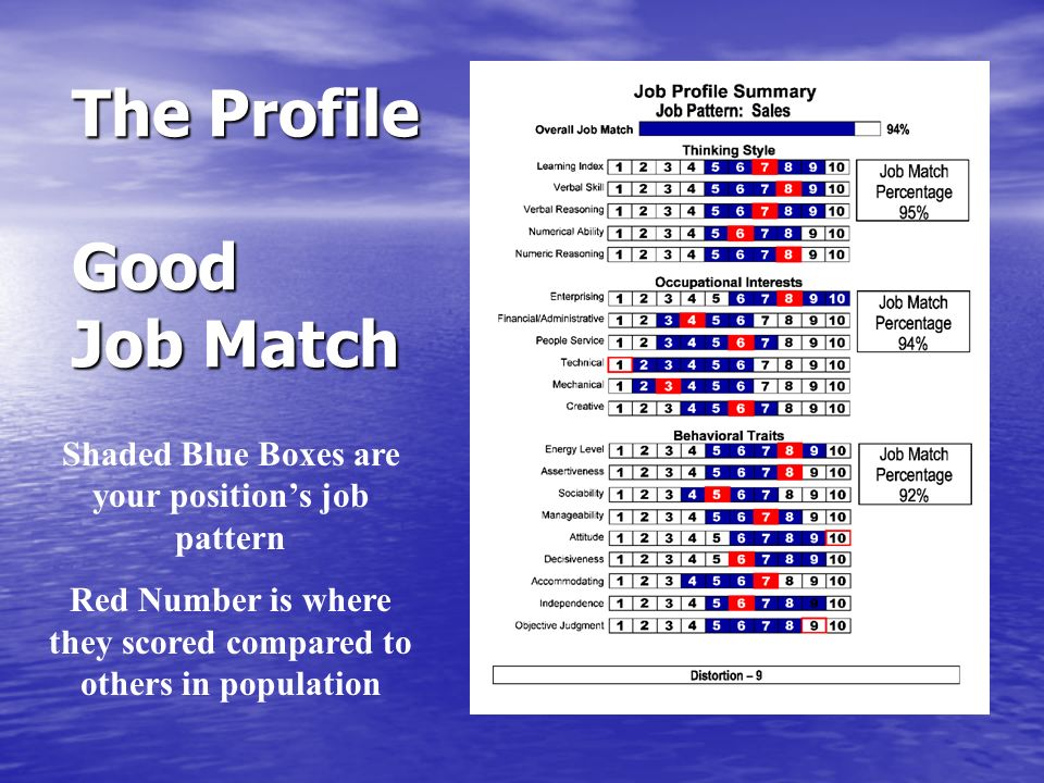 The Profile Good Job Match Shaded Blue Boxes are your positions job pattern Red Number is where they scored compared to others in population