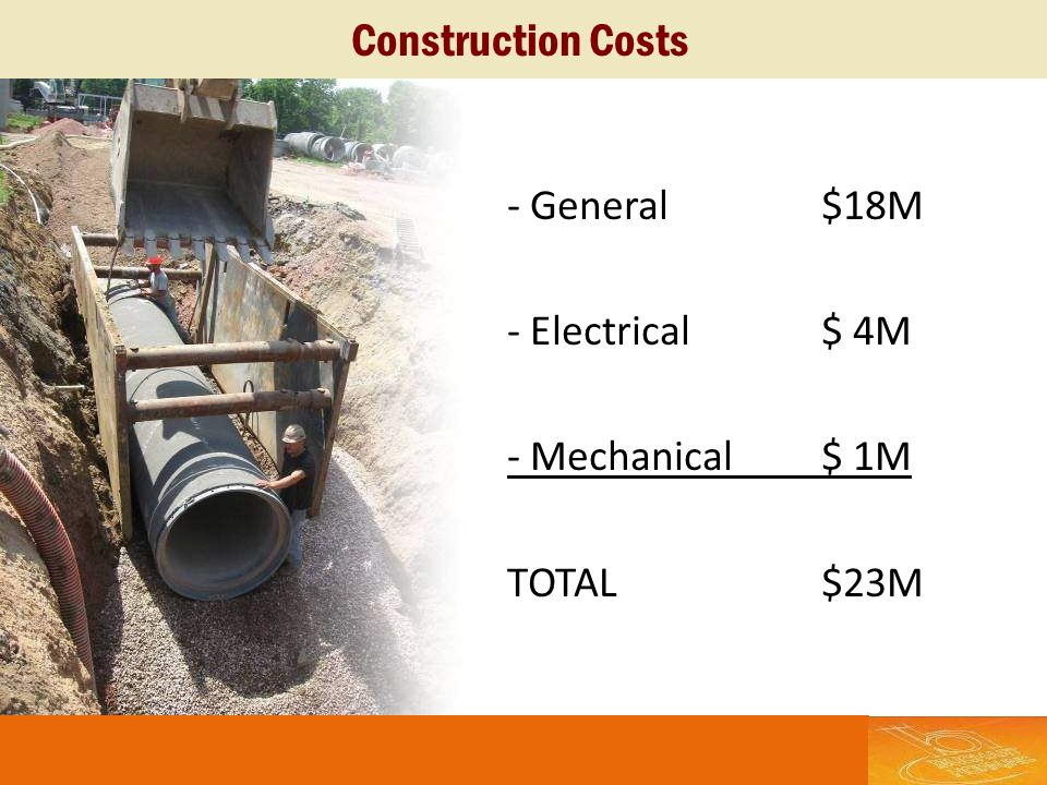 - General$18M - Electrical$ 4M - Mechanical$ 1M TOTAL$23M Construction Costs