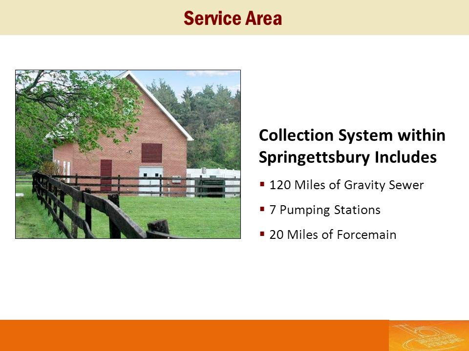 Service Area Collection System within Springettsbury Includes 120 Miles of Gravity Sewer 7 Pumping Stations 20 Miles of Forcemain