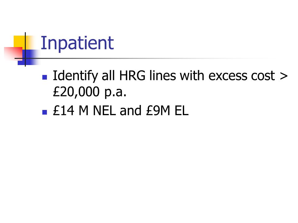 Inpatient Identify all HRG lines with excess cost > £20,000 p.a. £14 M NEL and £9M EL