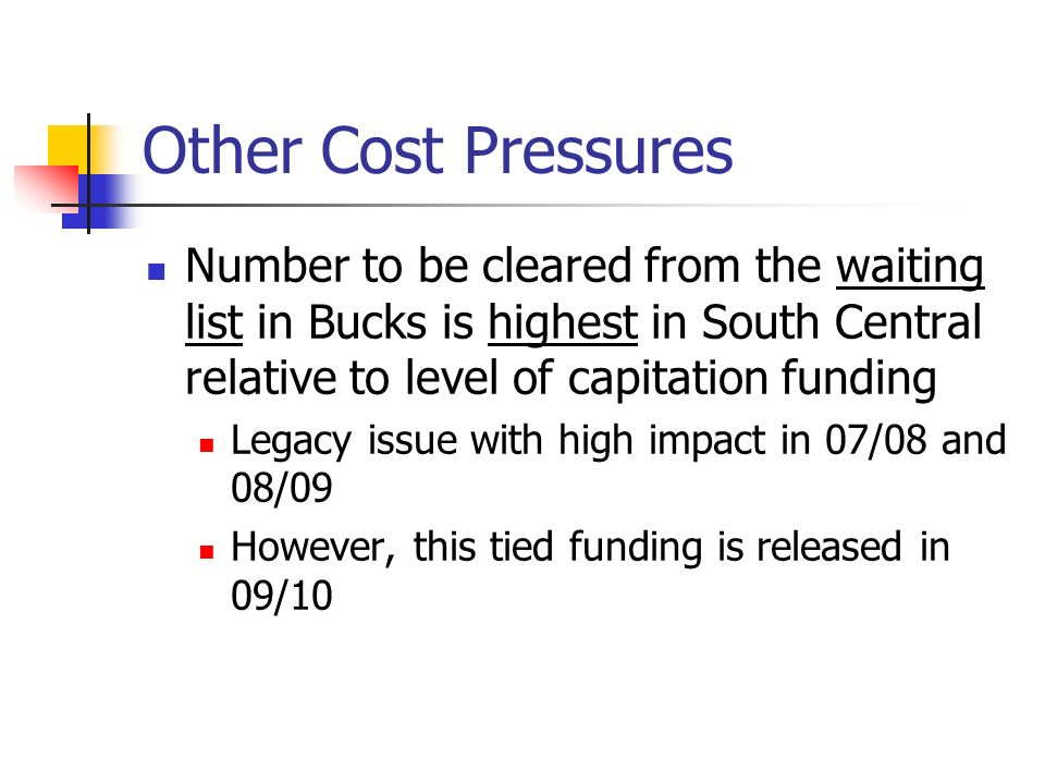 Other Cost Pressures Number to be cleared from the waiting list in Bucks is highest in South Central relative to level of capitation funding Legacy is