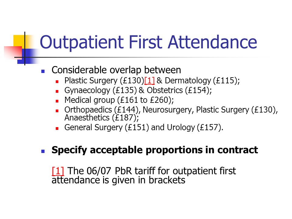 Outpatient First Attendance Considerable overlap between Plastic Surgery (£130)[1] & Dermatology (£115);[1] Gynaecology (£135) & Obstetrics (£154); Medical group (£161 to £260); Orthopaedics (£144), Neurosurgery, Plastic Surgery (£130), Anaesthetics (£187); General Surgery (£151) and Urology (£157).