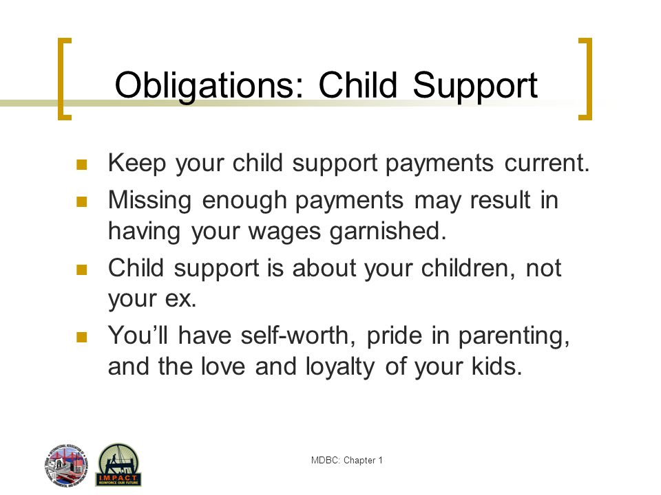 MDBC: Chapter 1 Obligations: Child Support Keep your child support payments current. Missing enough payments may result in having your wages garnished