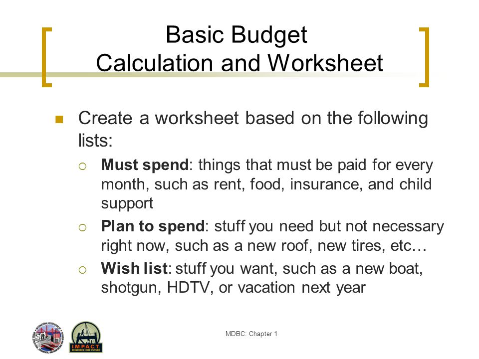 MDBC: Chapter 1 Basic Budget Calculation and Worksheet Create a worksheet based on the following lists: Must spend: things that must be paid for every