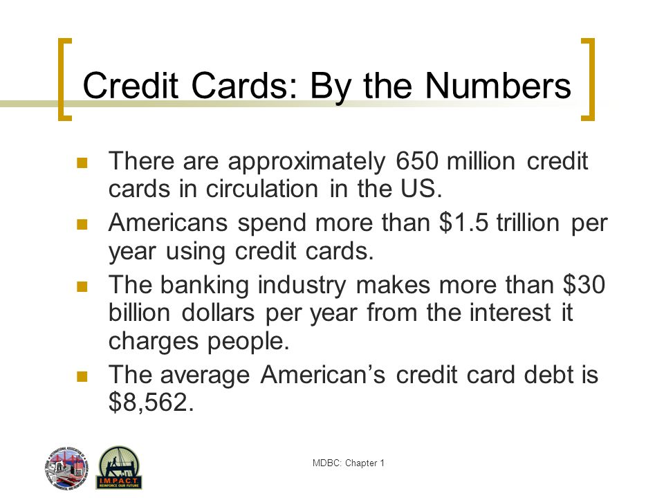 MDBC: Chapter 1 Credit Cards: By the Numbers There are approximately 650 million credit cards in circulation in the US. Americans spend more than $1.5