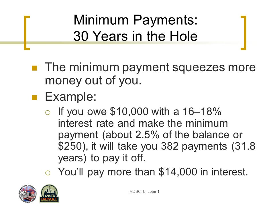 MDBC: Chapter 1 Minimum Payments: 30 Years in the Hole The minimum payment squeezes more money out of you. Example: If you owe $10,000 with a 16–18% i