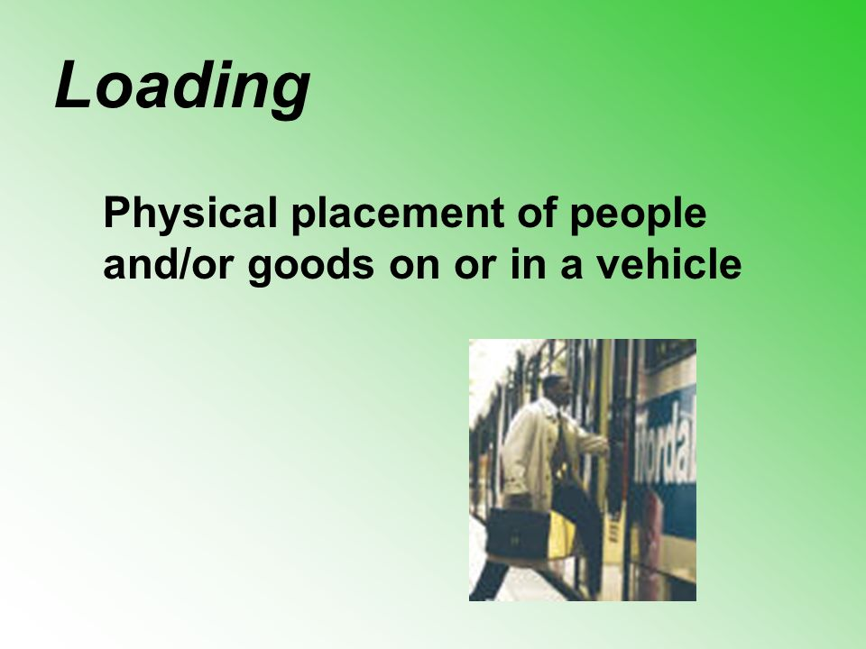 Loading Physical placement of people and/or goods on or in a vehicle