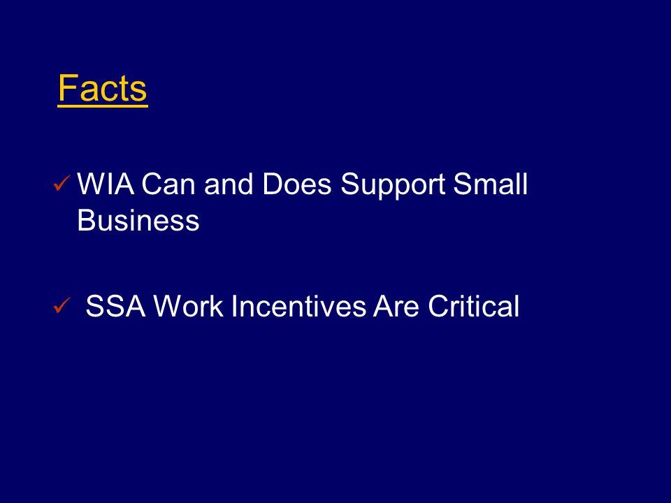 Facts WIA Can and Does Support Small Business SSA Work Incentives Are Critical