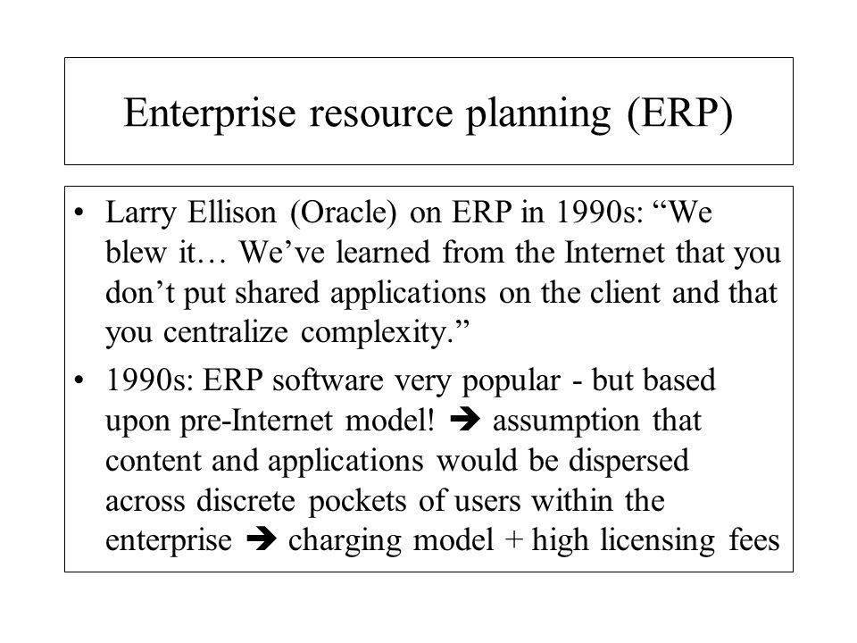 ERP - the aftermath IBM estimates that 70 % of all code written today consists of interfaces, protocols and other procedures to establish linkages among various systems.