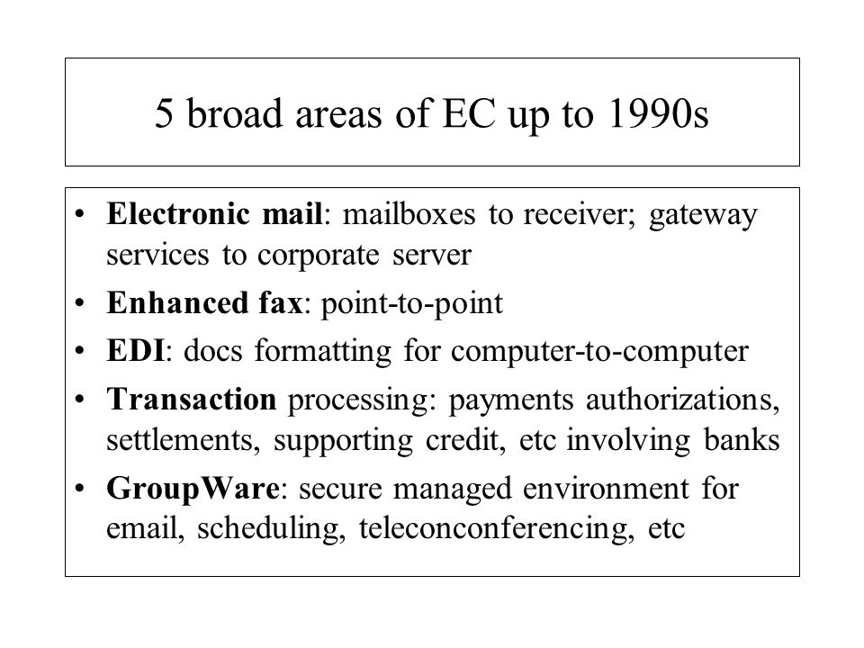 EC from the 1990s A transition to fully integrated Internet-based MIS and IT systems at firm and industry levels (eg.