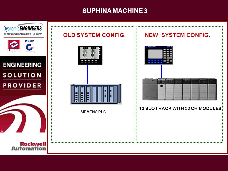 SUPHINA MACHINE 3 SIEMENS PLC OLD SYSTEM CONFIG.NEW SYSTEM CONFIG. 13 SLOT RACK WITH 32 CH MODULES