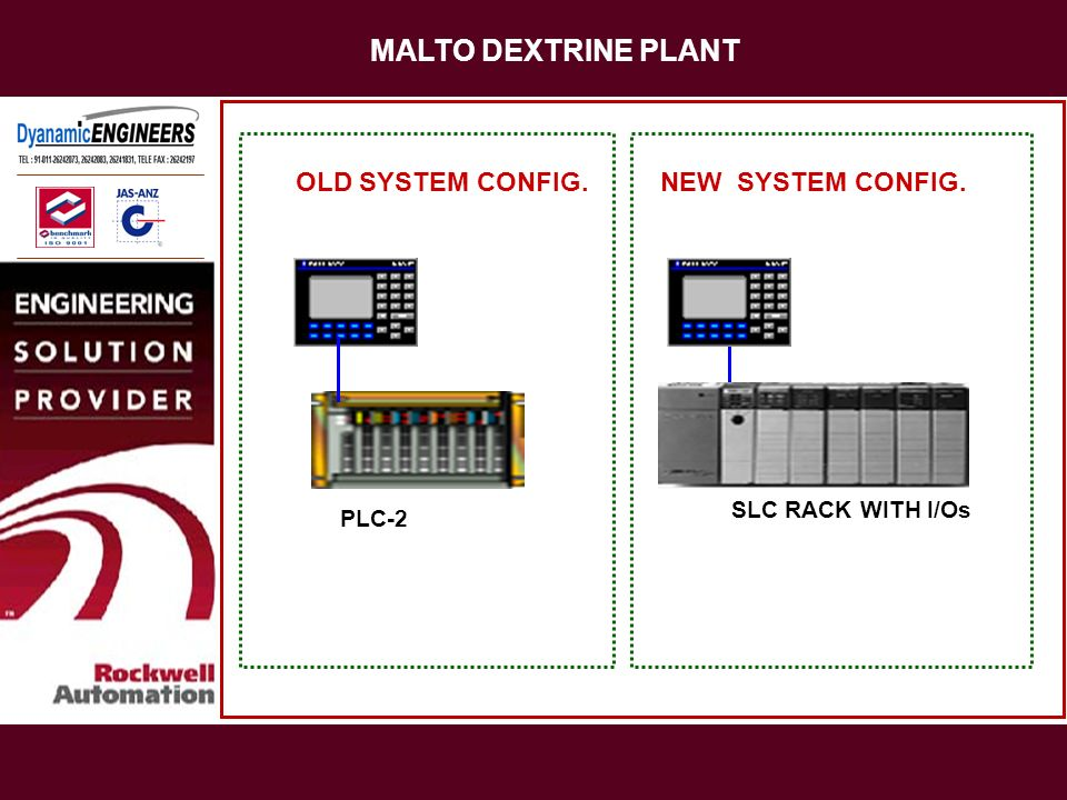 MALTO DEXTRINE PLANT PLC-2 OLD SYSTEM CONFIG.NEW SYSTEM CONFIG. SLC RACK WITH I/Os