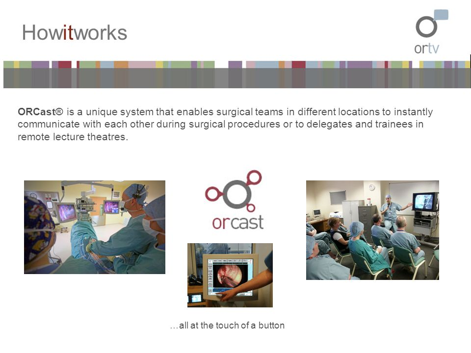 Howitworks ORCast® is a unique system that enables surgical teams in different locations to instantly communicate with each other during surgical proc