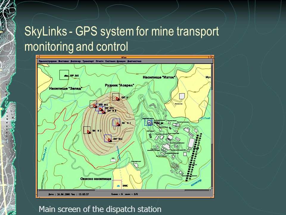 SkyLinks - GPS system for mine transport monitoring and control Main screen of the dispatch station