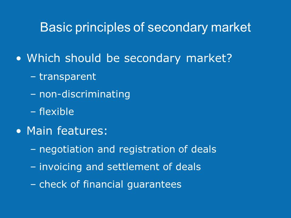 Transaction settlement Transaction is announced to primary auction office immediately after matching Financial transaction is recorded Individual accounts – sum of all: –credits – payments for sold capacity –debits – payments for bought capacity