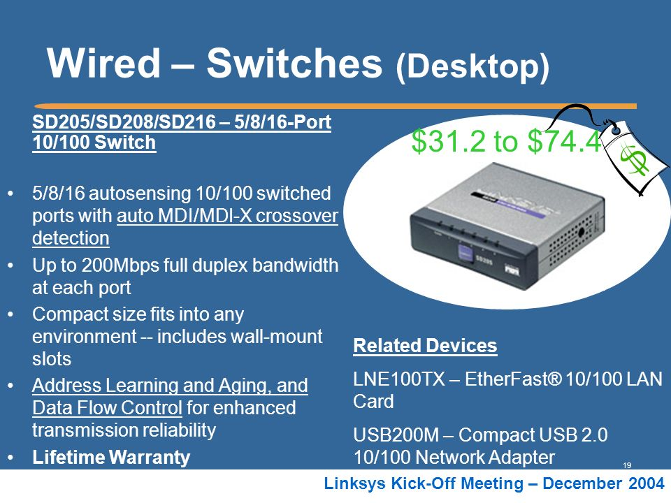 19 Linksys Kick-Off Meeting – December 2004 Wired – Switches (Desktop) SD205/SD208/SD216 – 5/8/16-Port 10/100 Switch 5/8/16 autosensing 10/100 switche