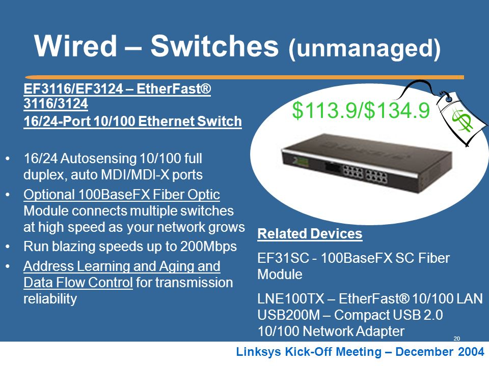 20 Linksys Kick-Off Meeting – December 2004 Wired – Switches (unmanaged) EF3116/EF3124 – EtherFast® 3116/3124 16/24-Port 10/100 Ethernet Switch 16/24