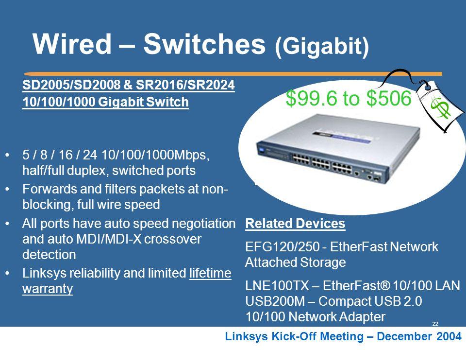22 Linksys Kick-Off Meeting – December 2004 Wired – Switches (Gigabit) SD2005/SD2008 & SR2016/SR2024 10/100/1000 Gigabit Switch 5 / 8 / 16 / 24 10/100