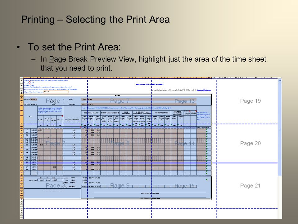 Printing – Selecting the Print Area To set the Print Area: –In Page Break Preview View, highlight just the area of the time sheet that you need to pri