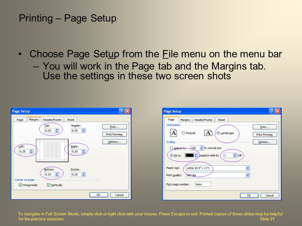 Choose Page Setup from the File menu on the menu bar –You will work in the Page tab and the Margins tab. Use the settings in these two screen shots Pr