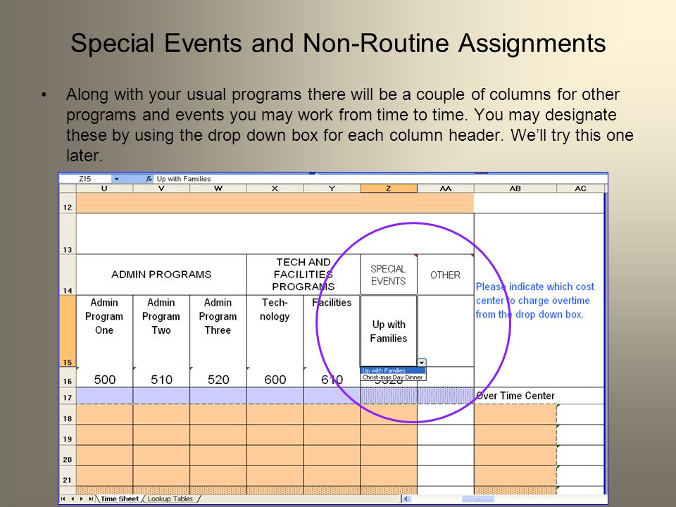 Special Events and Non-Routine Assignments Along with your usual programs there will be a couple of columns for other programs and events you may work