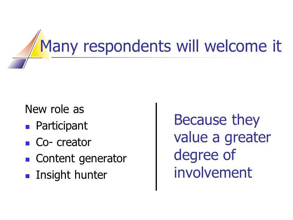 Many respondents will welcome it Because they value a greater degree of involvement New role as Participant Co- creator Content generator Insight hunter