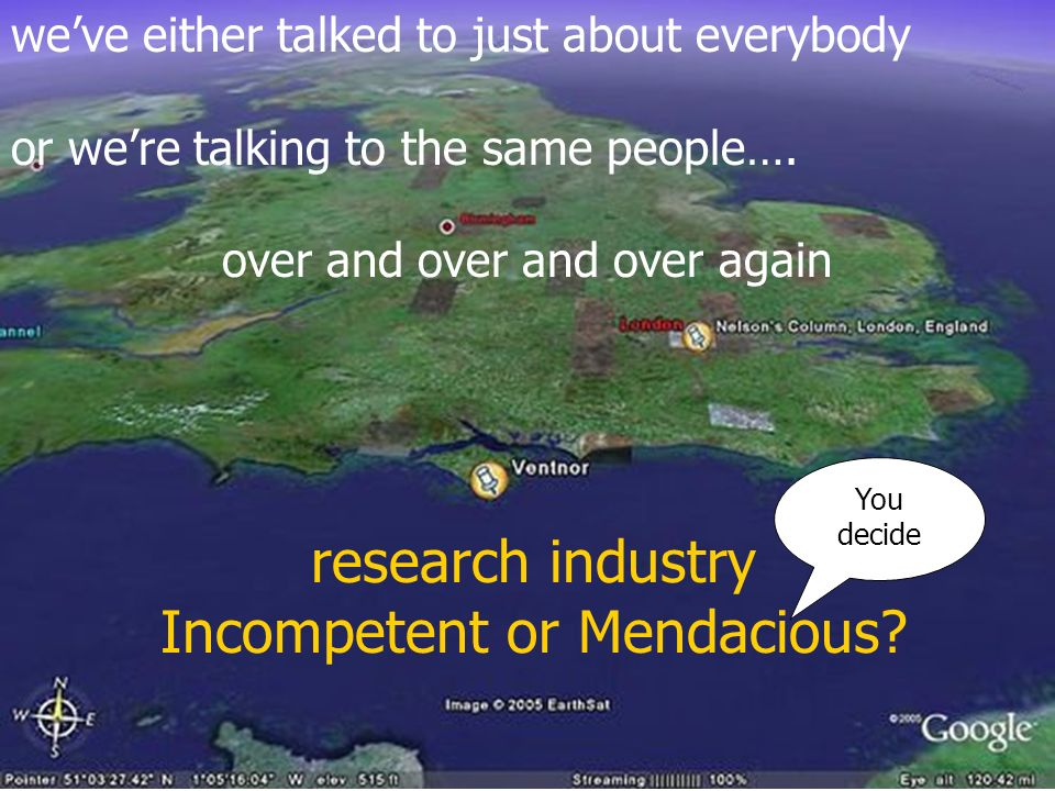 research industry Incompetent or Mendacious.