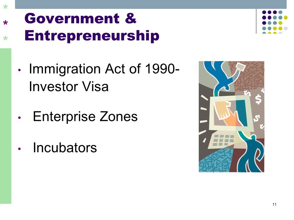 ****** 11 Government & Entrepreneurship Immigration Act of 1990- Investor Visa Enterprise Zones Incubators