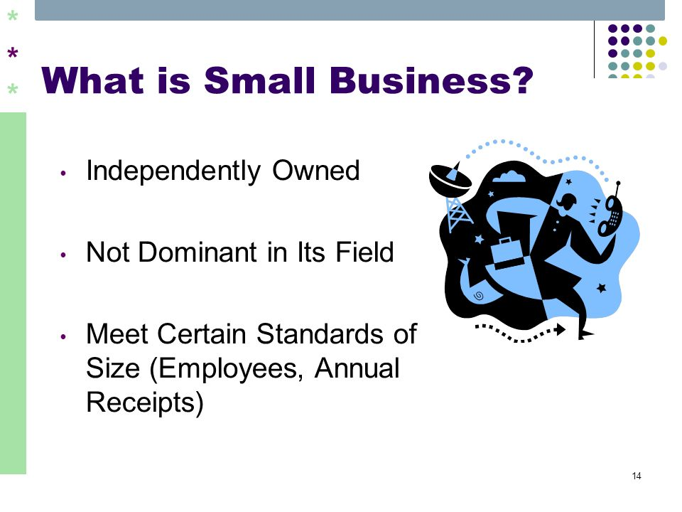 ****** 14 What is Small Business? Independently Owned Not Dominant in Its Field Meet Certain Standards of Size (Employees, Annual Receipts)